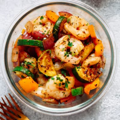 shrimp and veggies meal prep dinner
