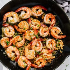 Garlic Butter Shrimp Skillet.