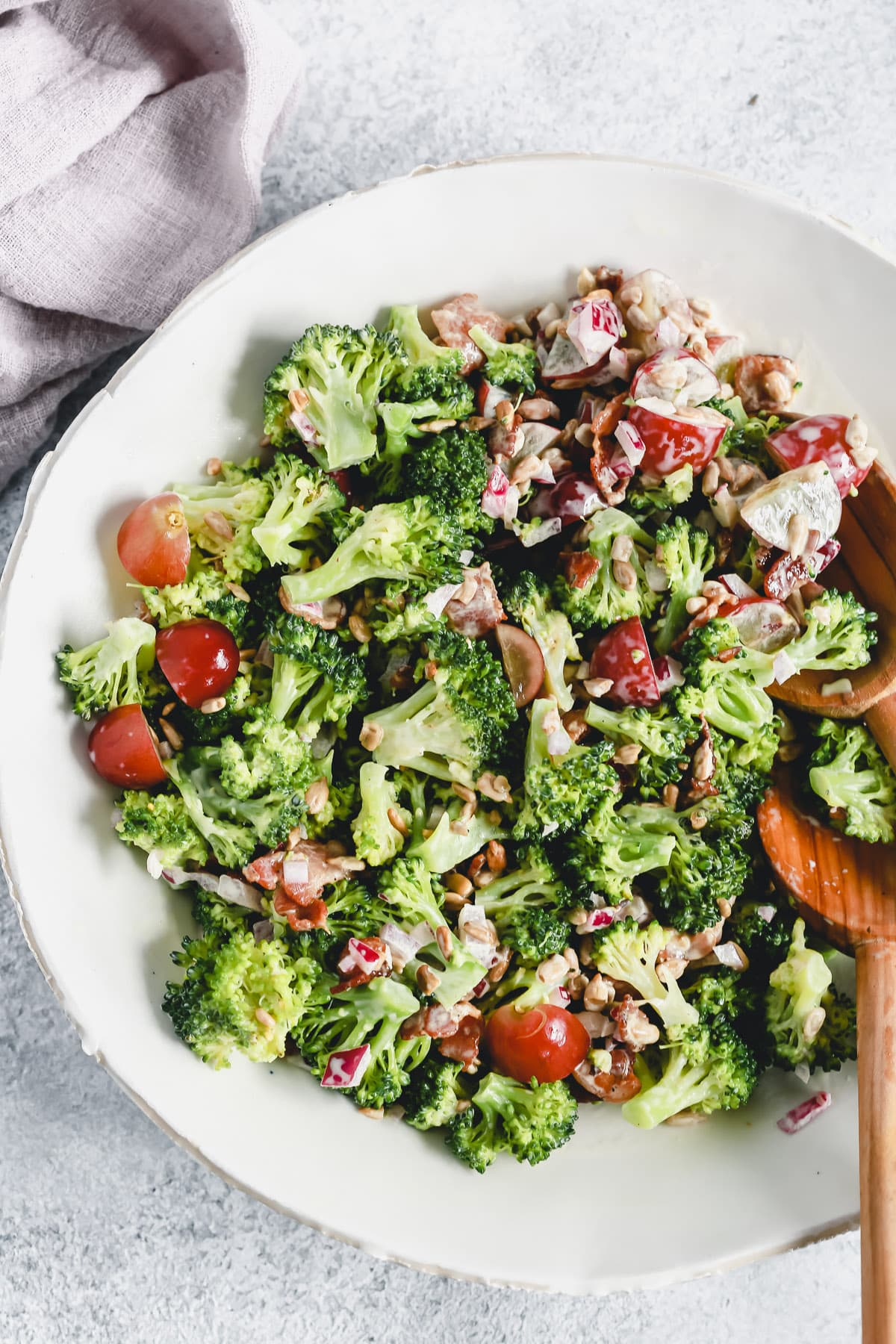 bowl of fresh broccoli salad