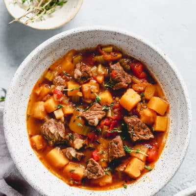 bowl of Instant Pot vegetable beef soup