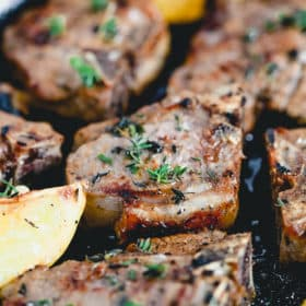 lemon thyme lamb chops close up