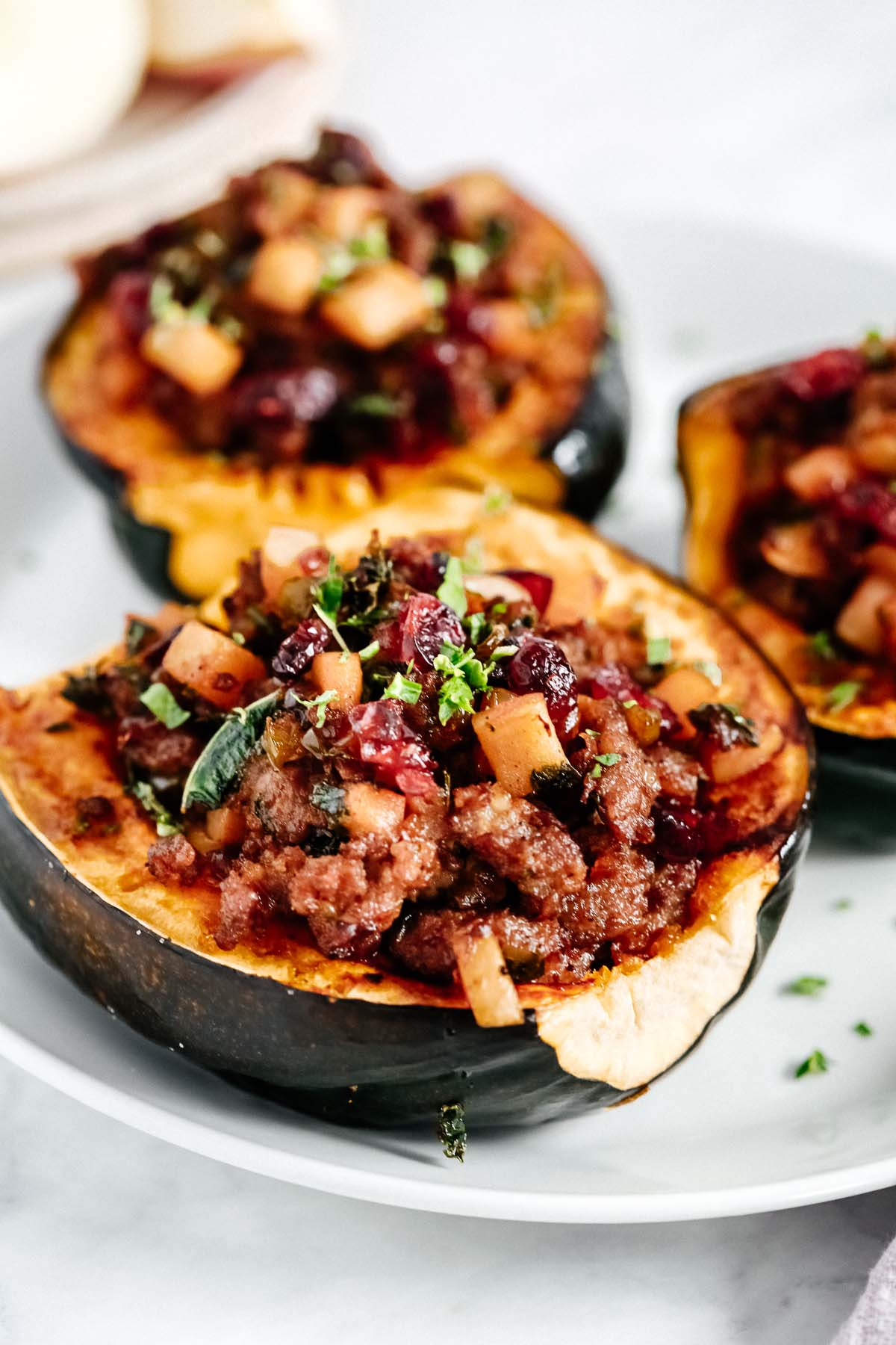 Close up of Stuffed Acorn Squash