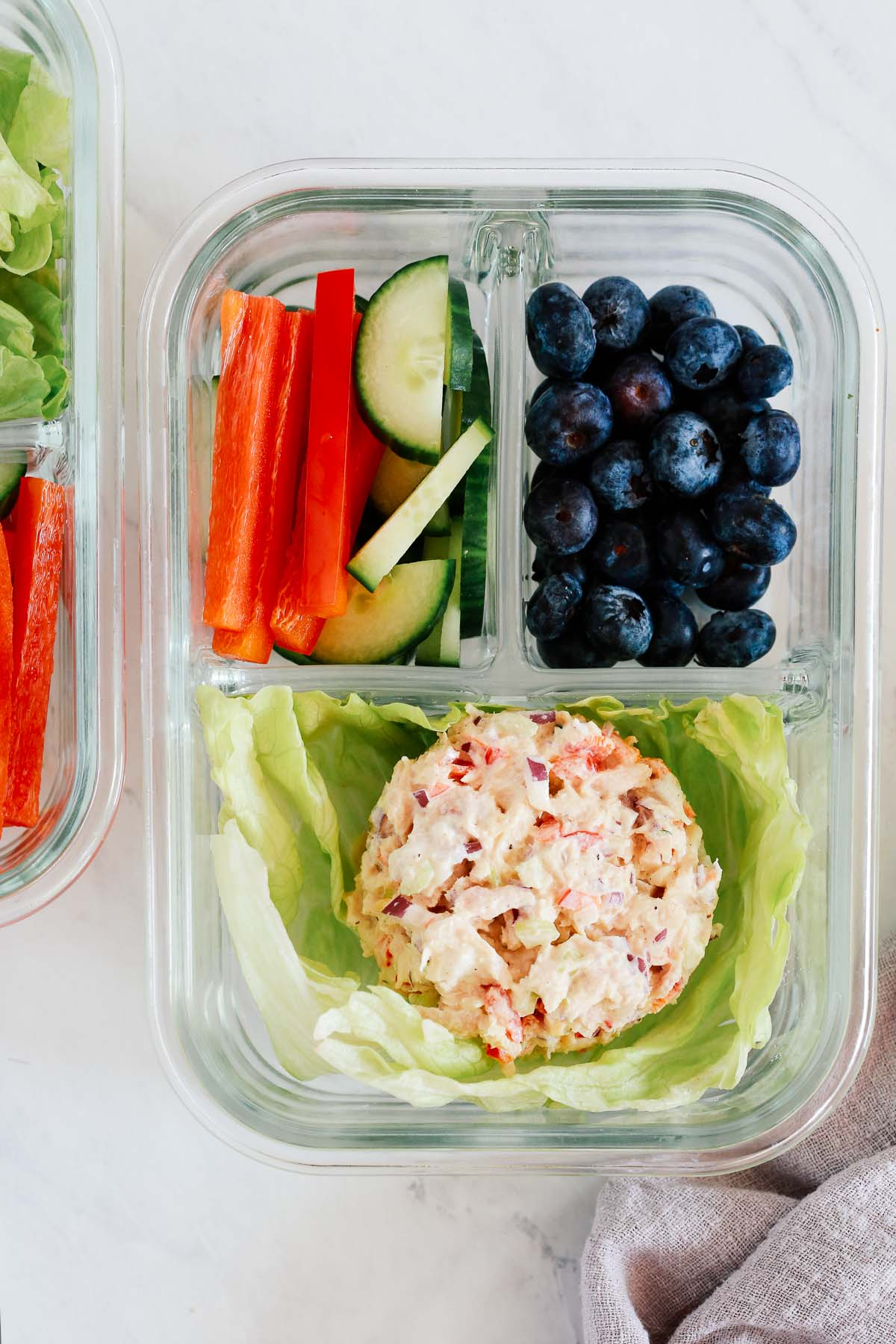 tuna salad bowls with blueberries and cucumbers