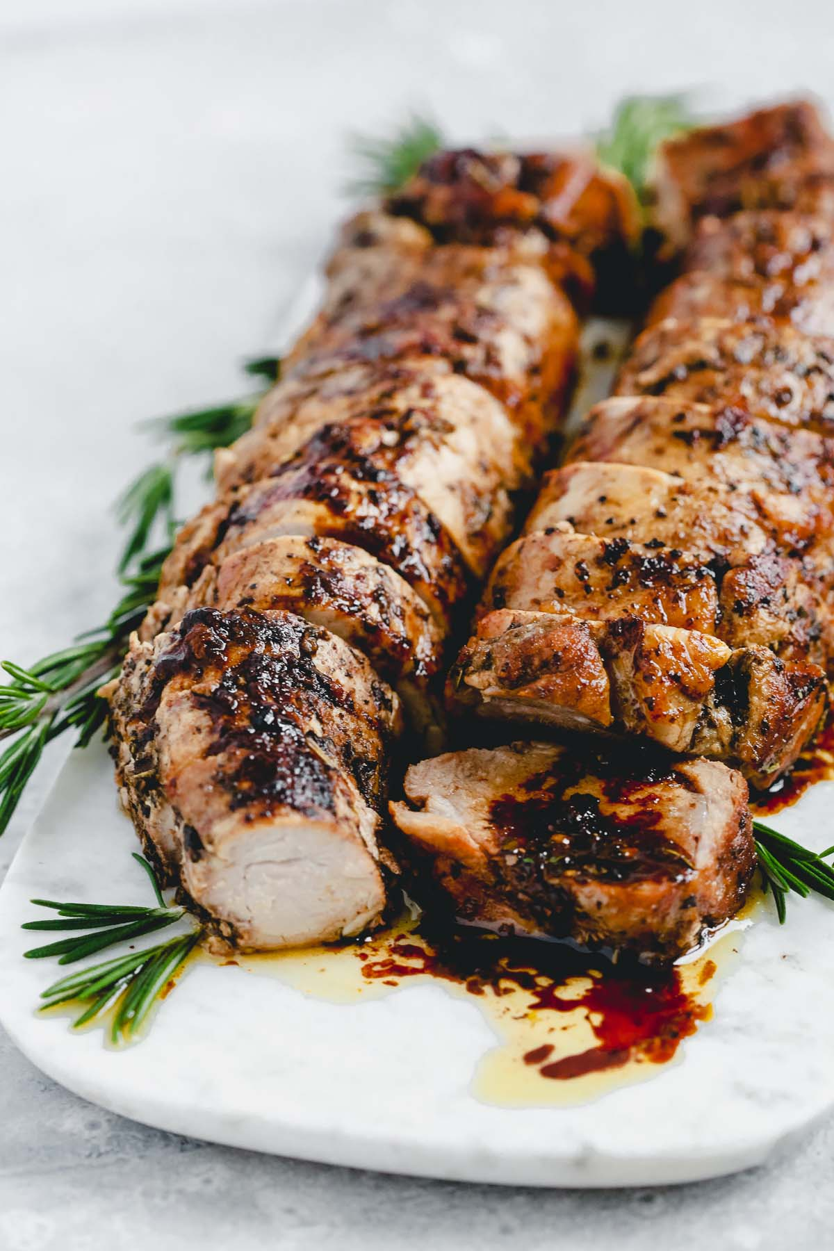 Balsamic Roast Pork Tenderloin 45 angle shot