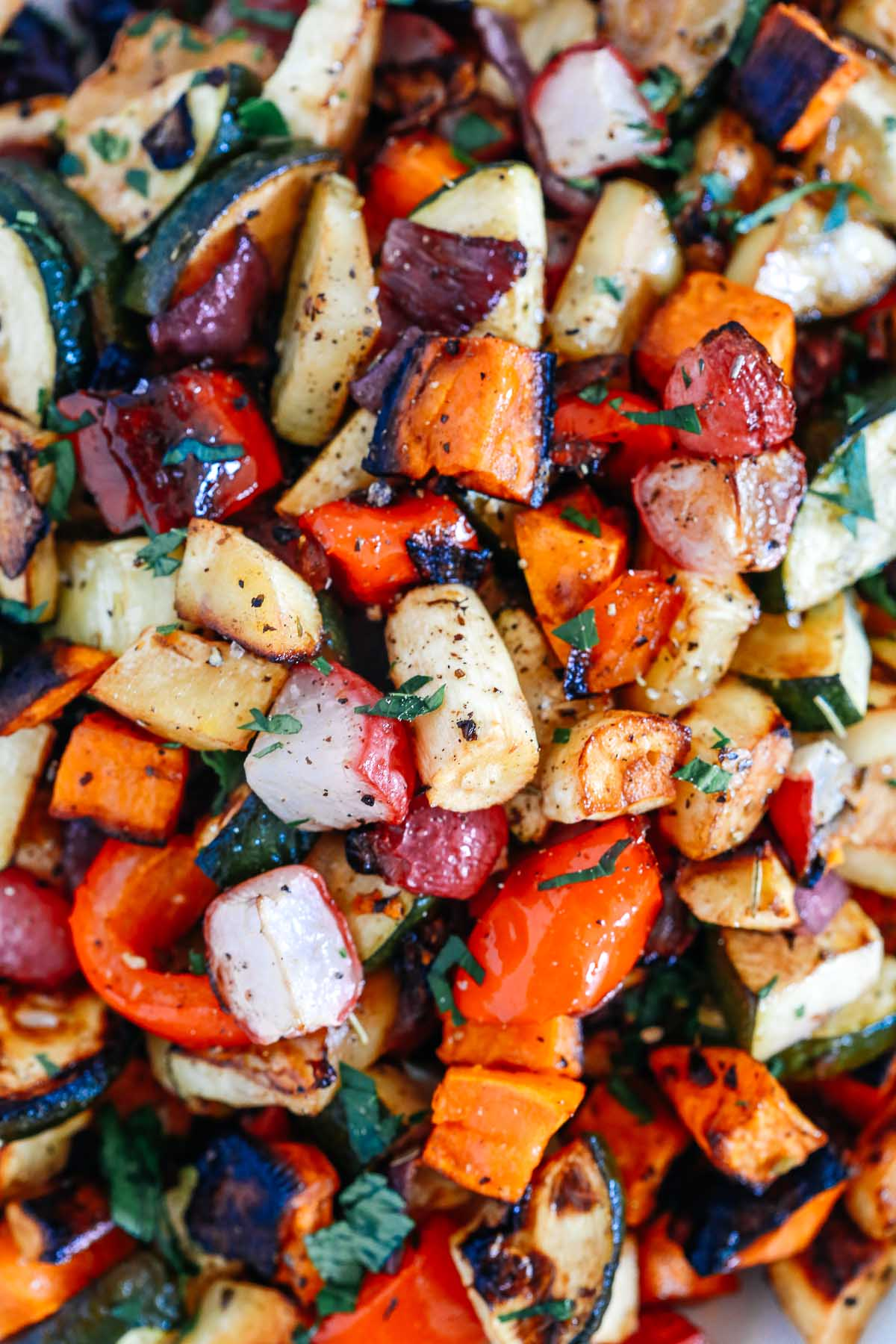 super closeup of balsamic vegetables recipe