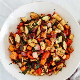 Overhead shoot of Balsamic vegetables recipe