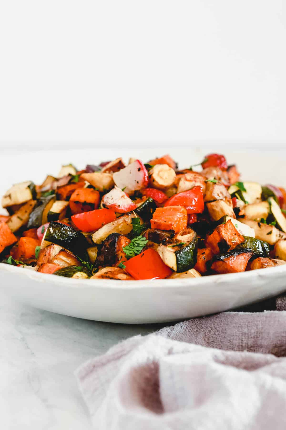 closeup shoot of balsamic roasted vegetables