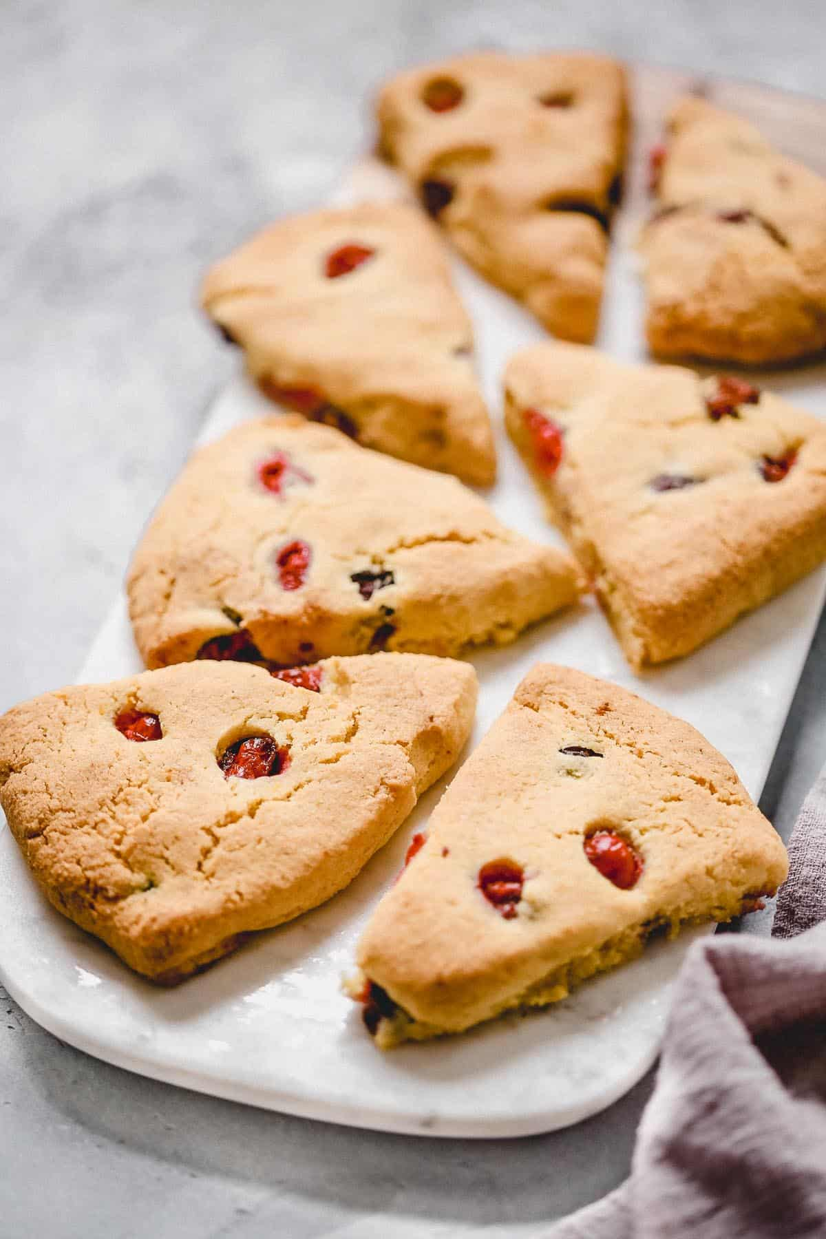 platter of cranberry orange scones