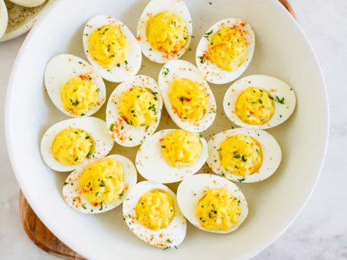 overhead view of a plate containing deviled eggs