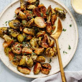 roasted Brussels sprouts on serving platter