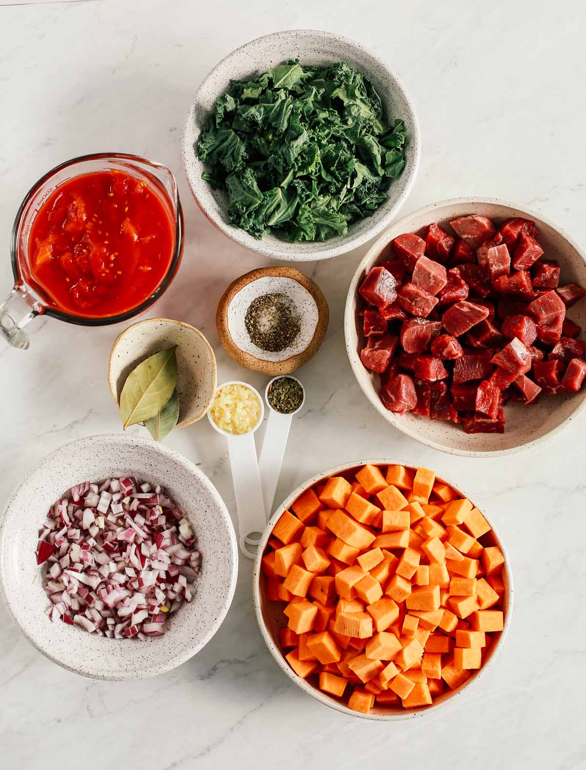 list of the ingredients for the Instant Pot Sweet Potato Kale Beef Soup