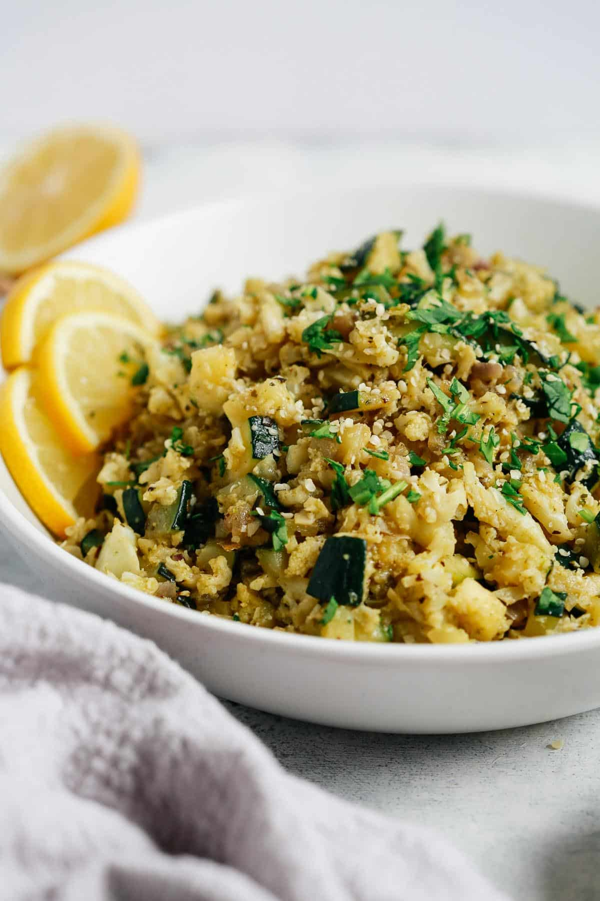 cauliflower rice in a white bowl
