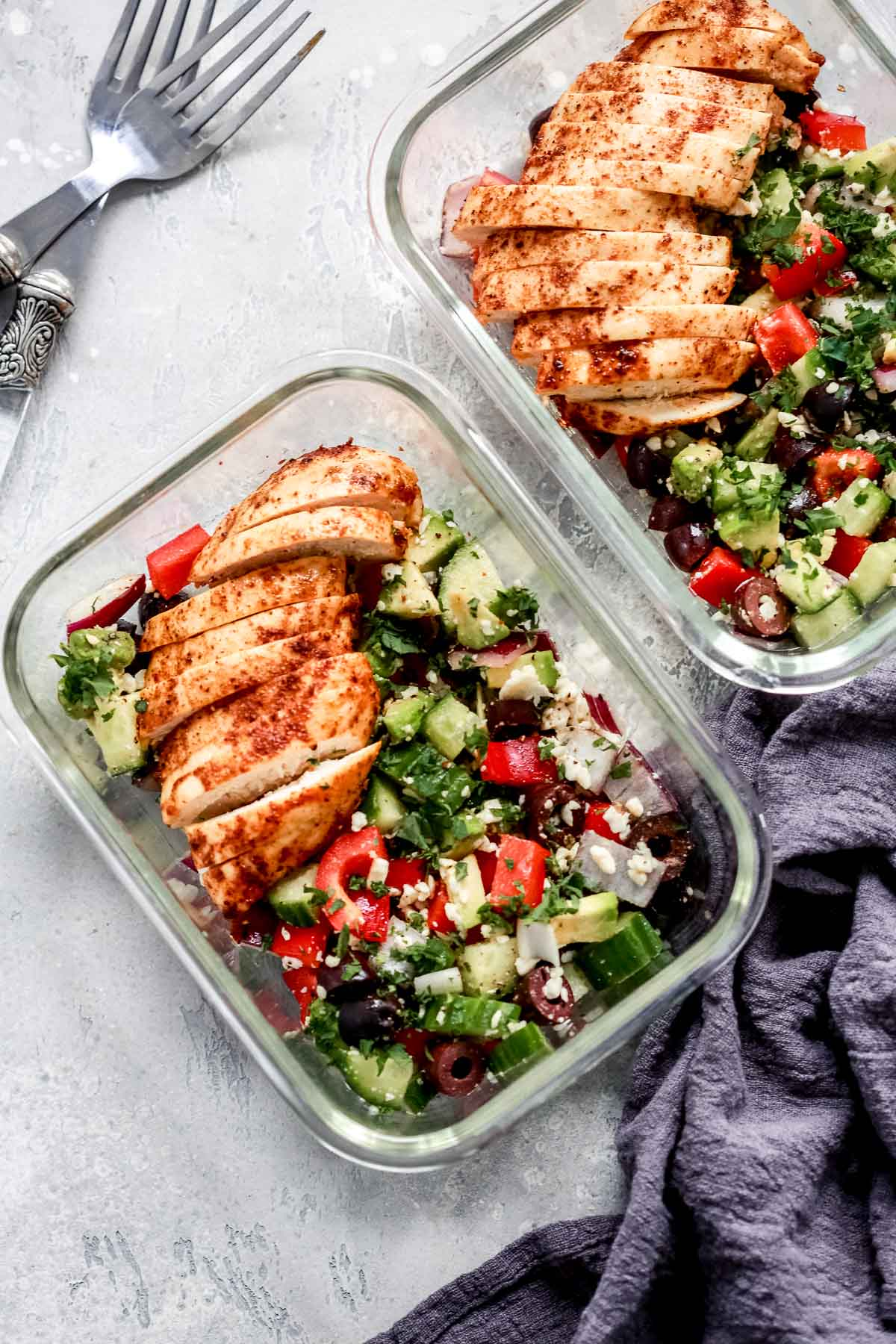 Greek Chicken Salad in glass containers