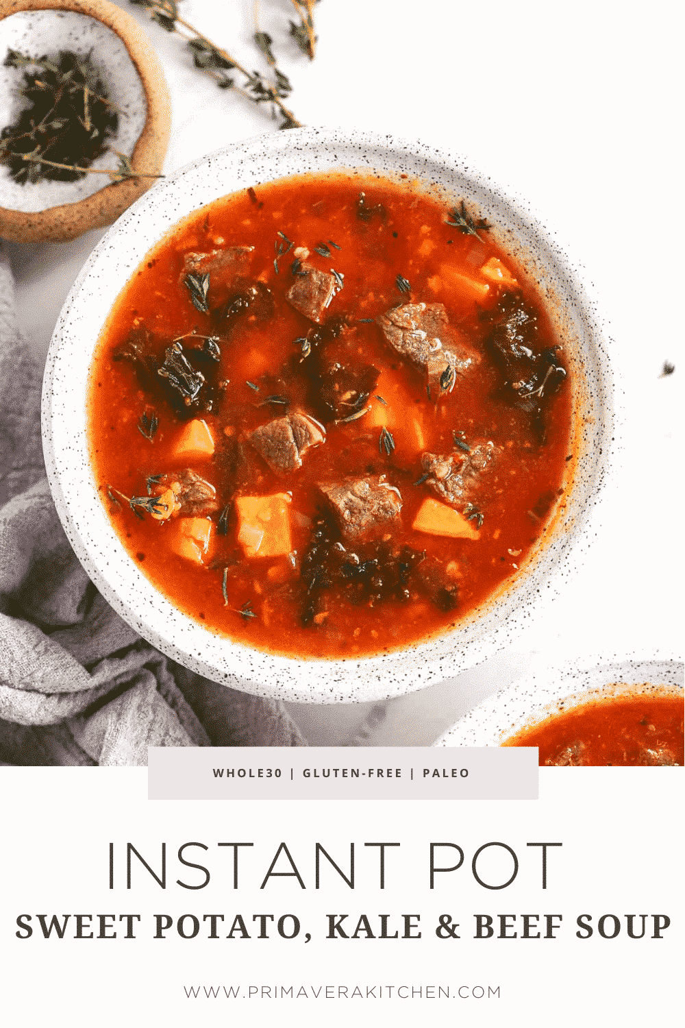 Instant Pot Sweet Potato Kale Beef Soup
