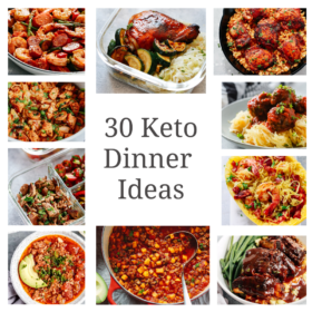 titled photo collage (and shown): 30 minutes keto dinner ideas