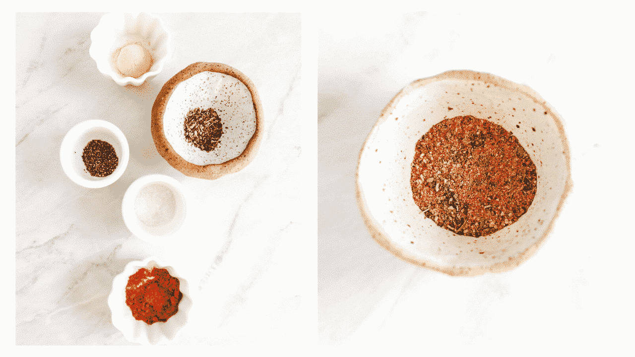 small bowls with dried herbs and spices for chicken seasoning