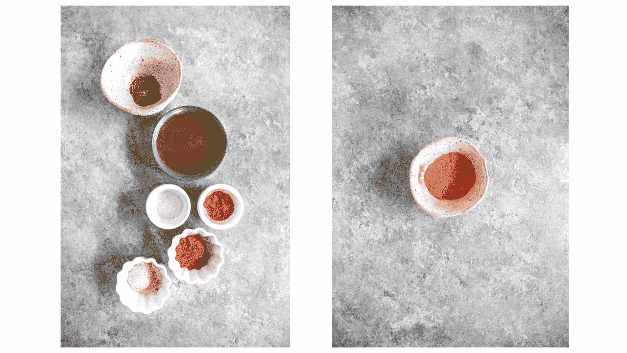 Ingredients for roasted cauliflower: smoked paprika, turmeric, garlic powder, freshly ground black pepper, fine sea salt, extra virgin olive oil