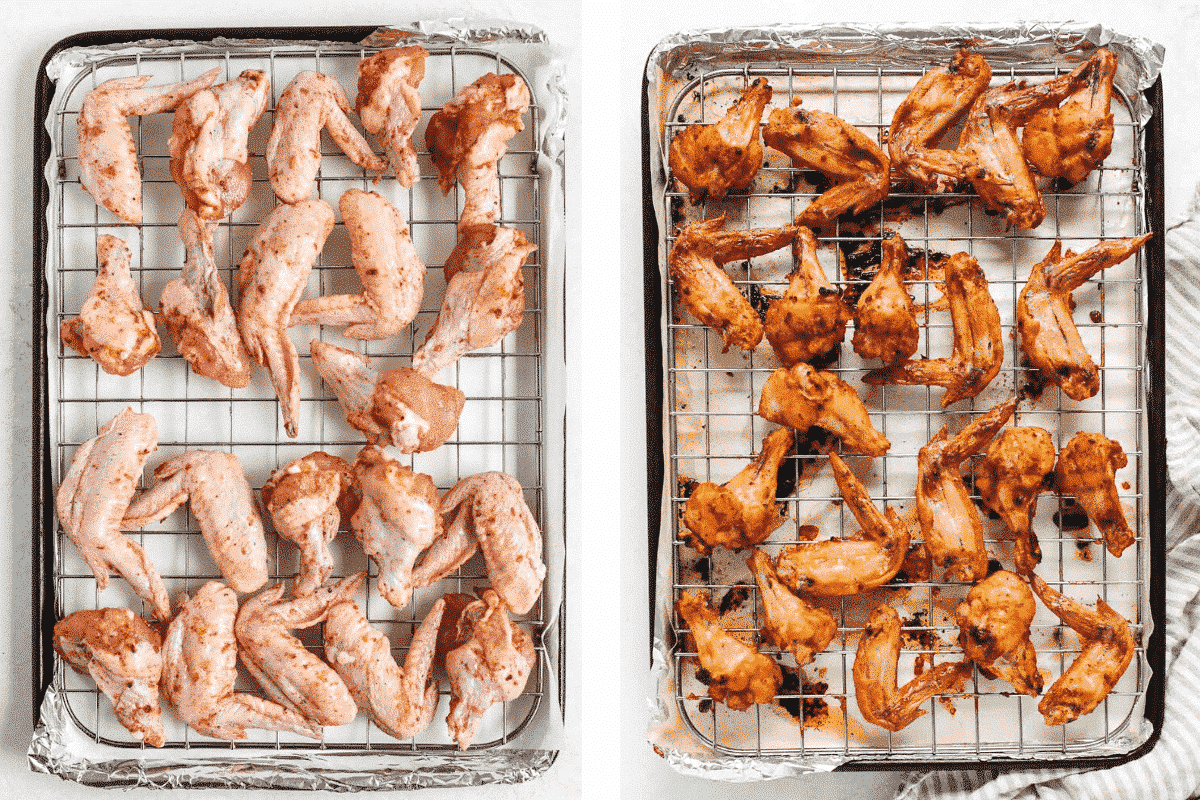 2 baking sheets with chicken wings; one before baking and one after baking