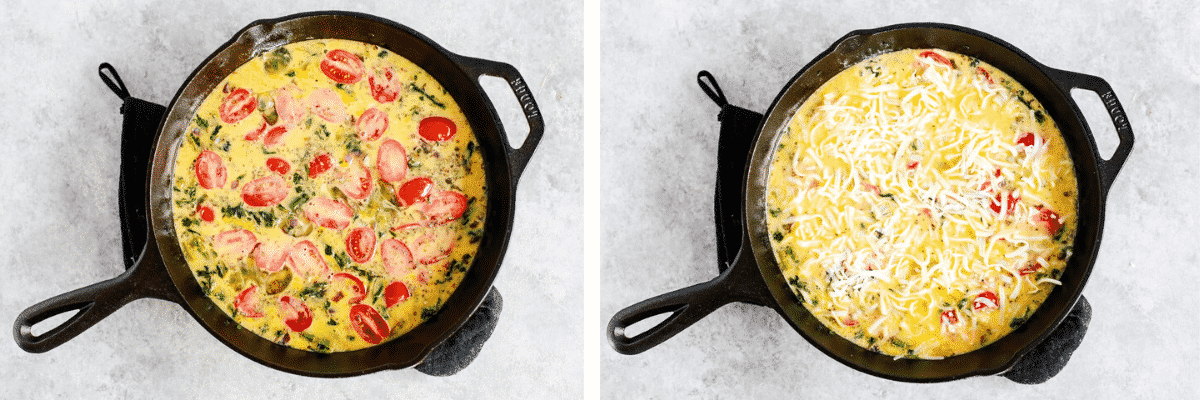 Step-by-step photos show how to make oven baked eggs in a skillet
