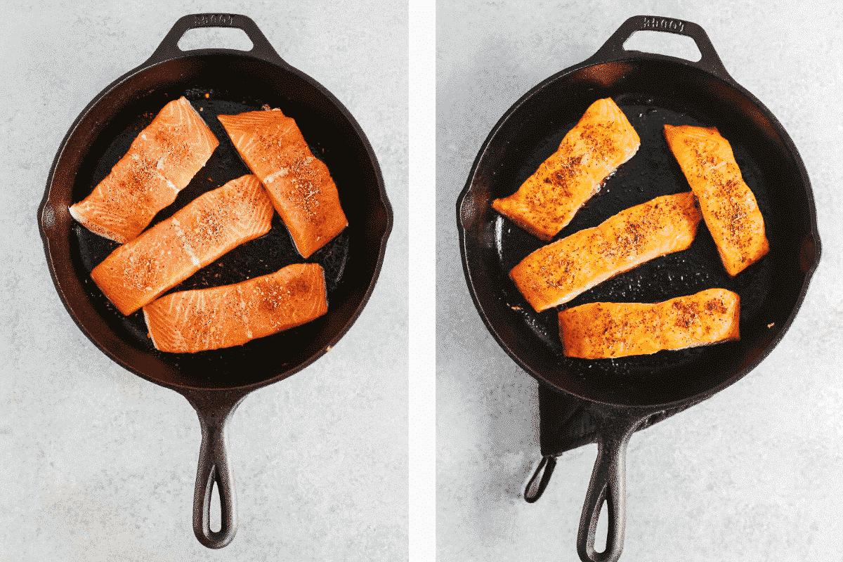 searing salmon filets in cast iron pan