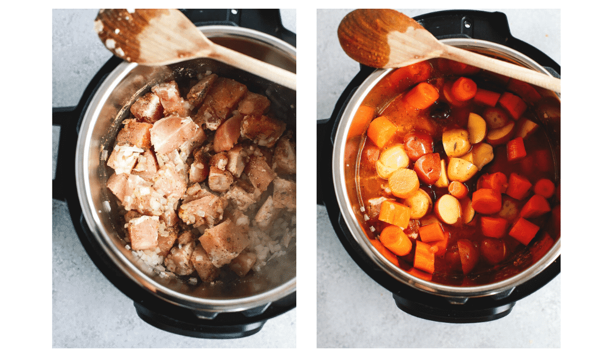 step by step photos show how to make chicken stew in an electric pressure cooker