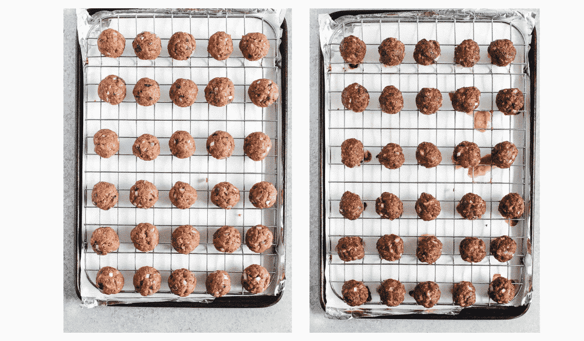 meatballs for meatball soup, on baking racks, before and after baking.