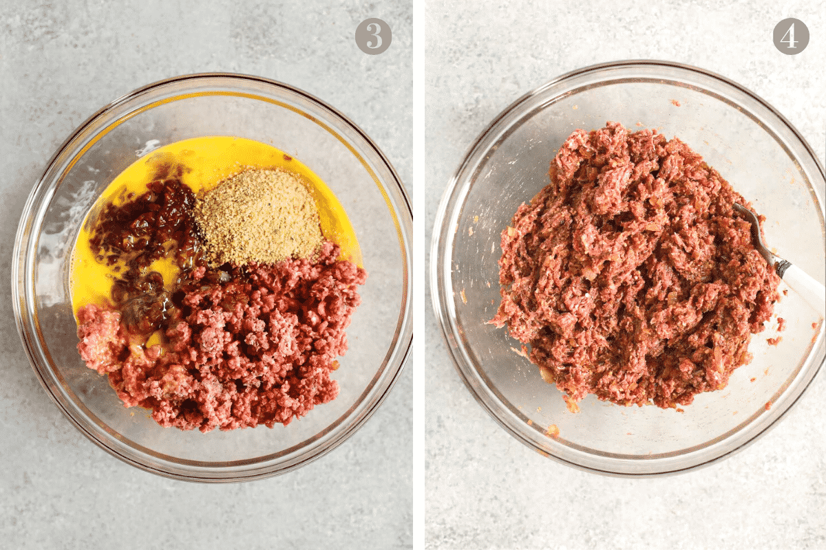 ground beef, egg, worcestershire sauce, and bread crumbs in a mixing bowl