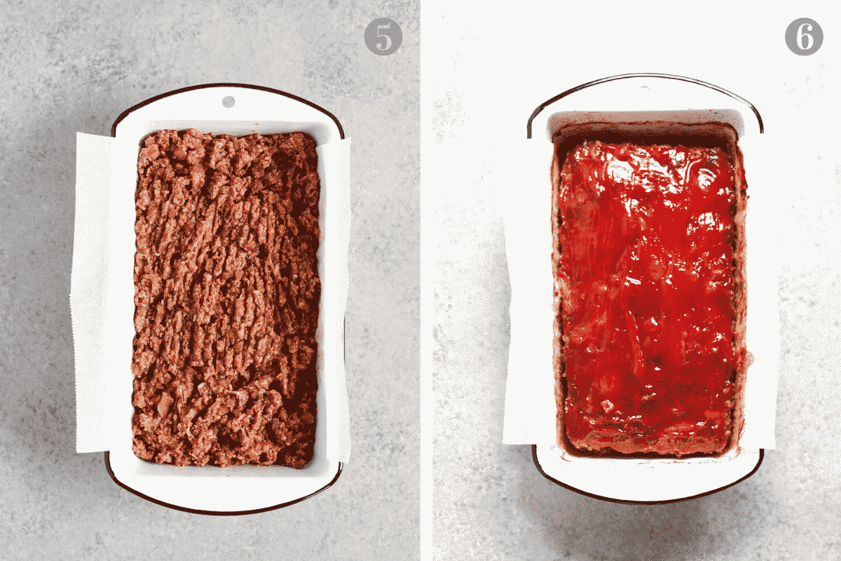 uncooked meatloaf mixture in a loaf pan