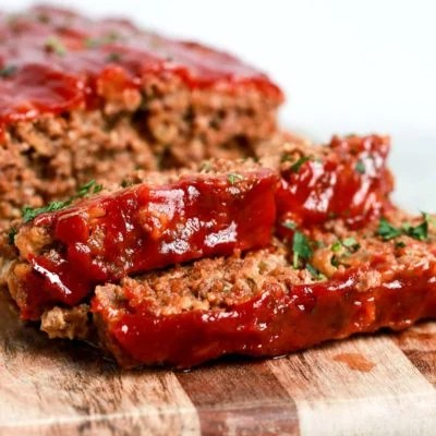 close up a lean ground beef meat loaf