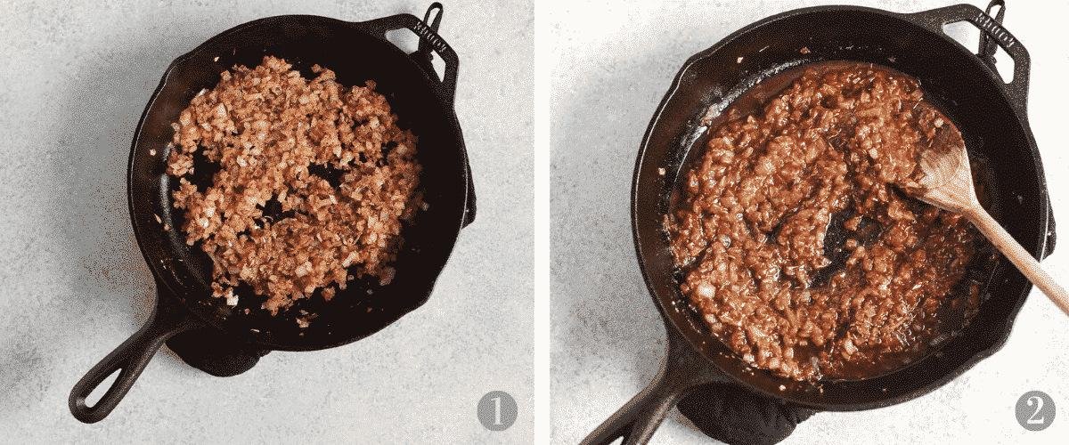 browning ground beef in cast iron skillet