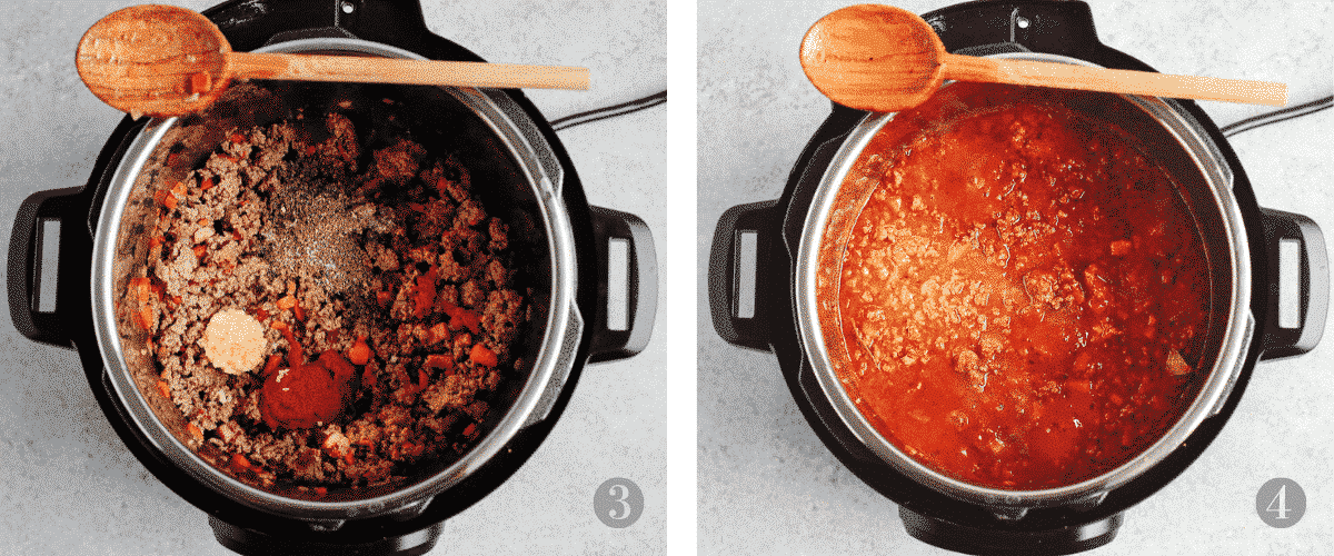 photo collage shows 2 of the steps involved in making Instant Pot pasta sauce