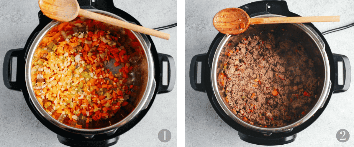 photo collage shows first 2 steps in making a pasta sauce recipe