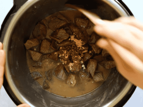 overhead view of korean beef in an instant pot