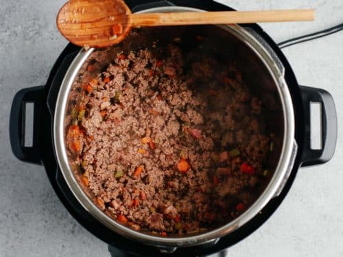 cooked ground beef inside of instant pot