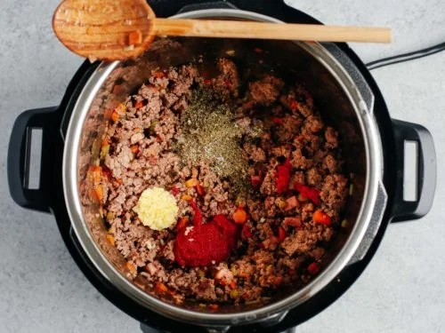 overhead view of meat sauce inside of instant pot