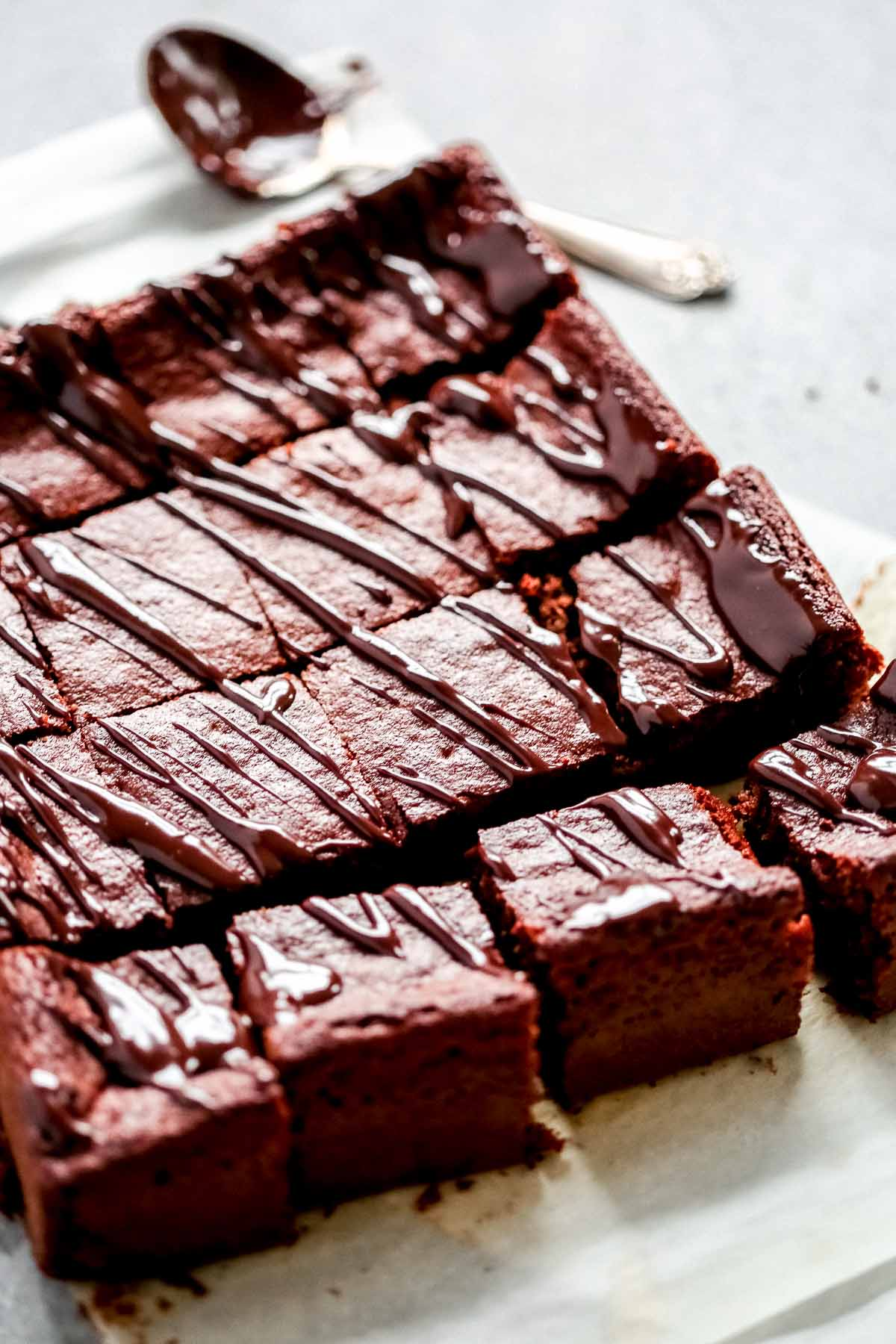low-carb brownies cut into squares