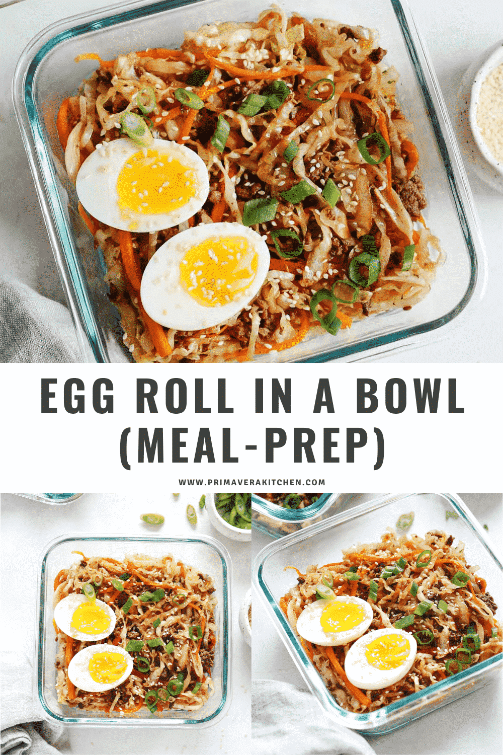 titled photo collage (and shown):egg roll in a bowl