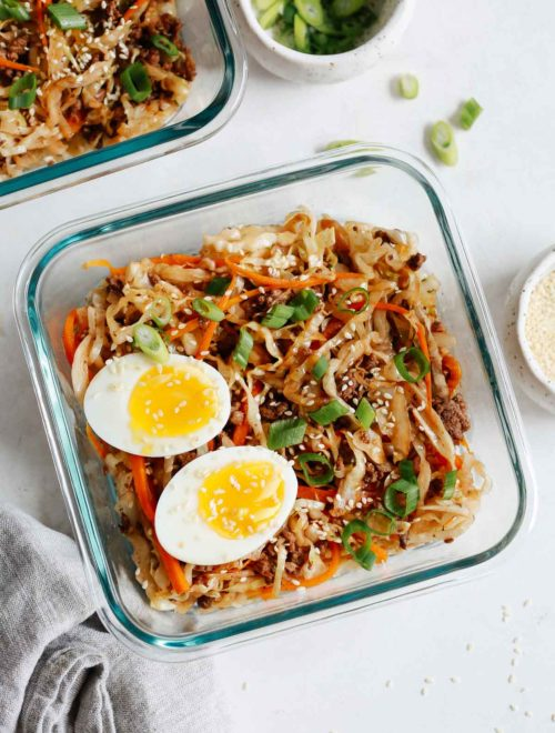 egg roll in a bowl recipe in a glass container