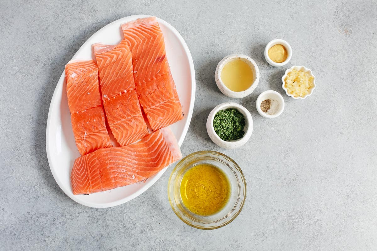 ingredients to make baked salmon with mustard sauce