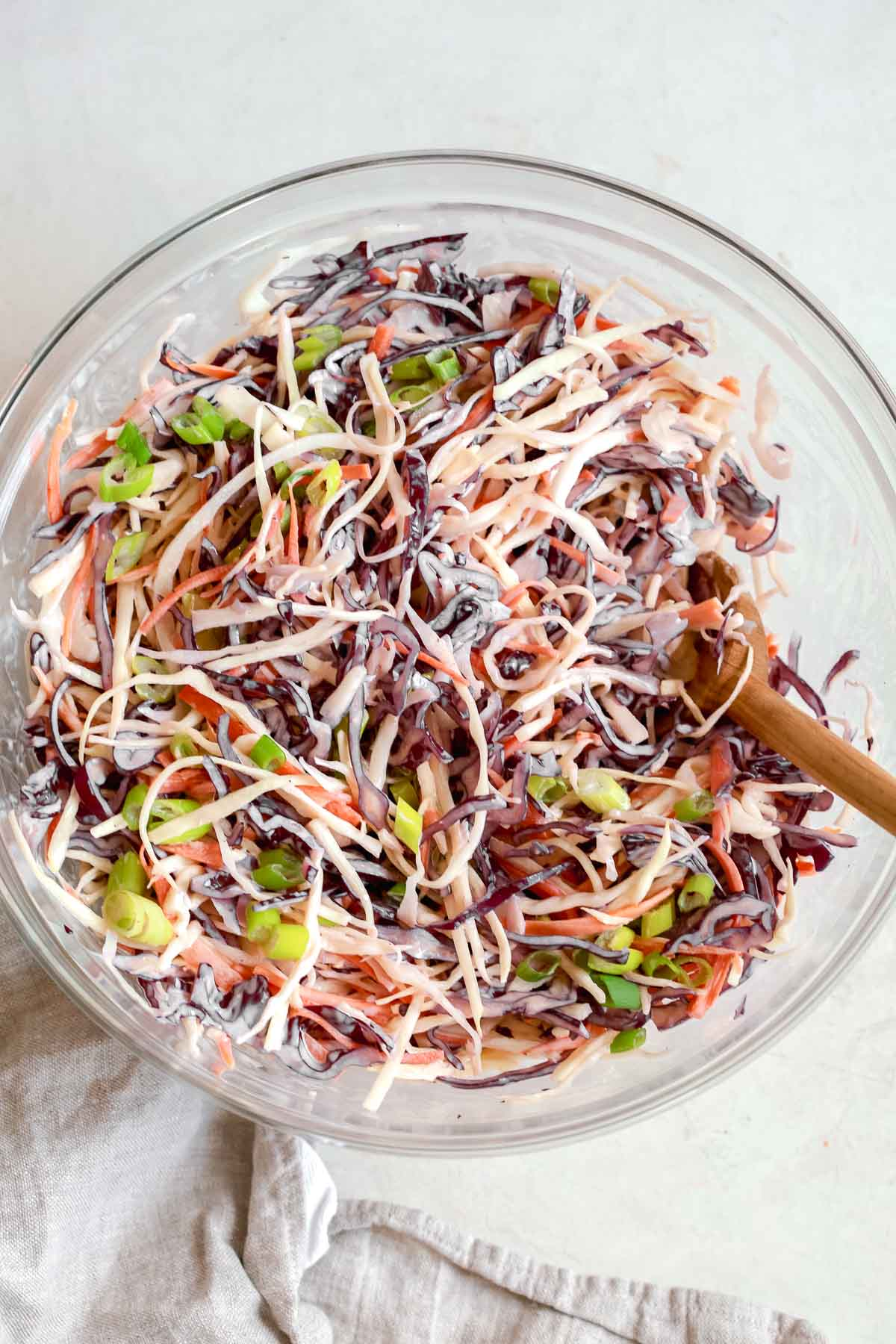 Overhead photo of cabbage coleslaw