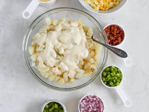 overhead view of potato salad ingredients