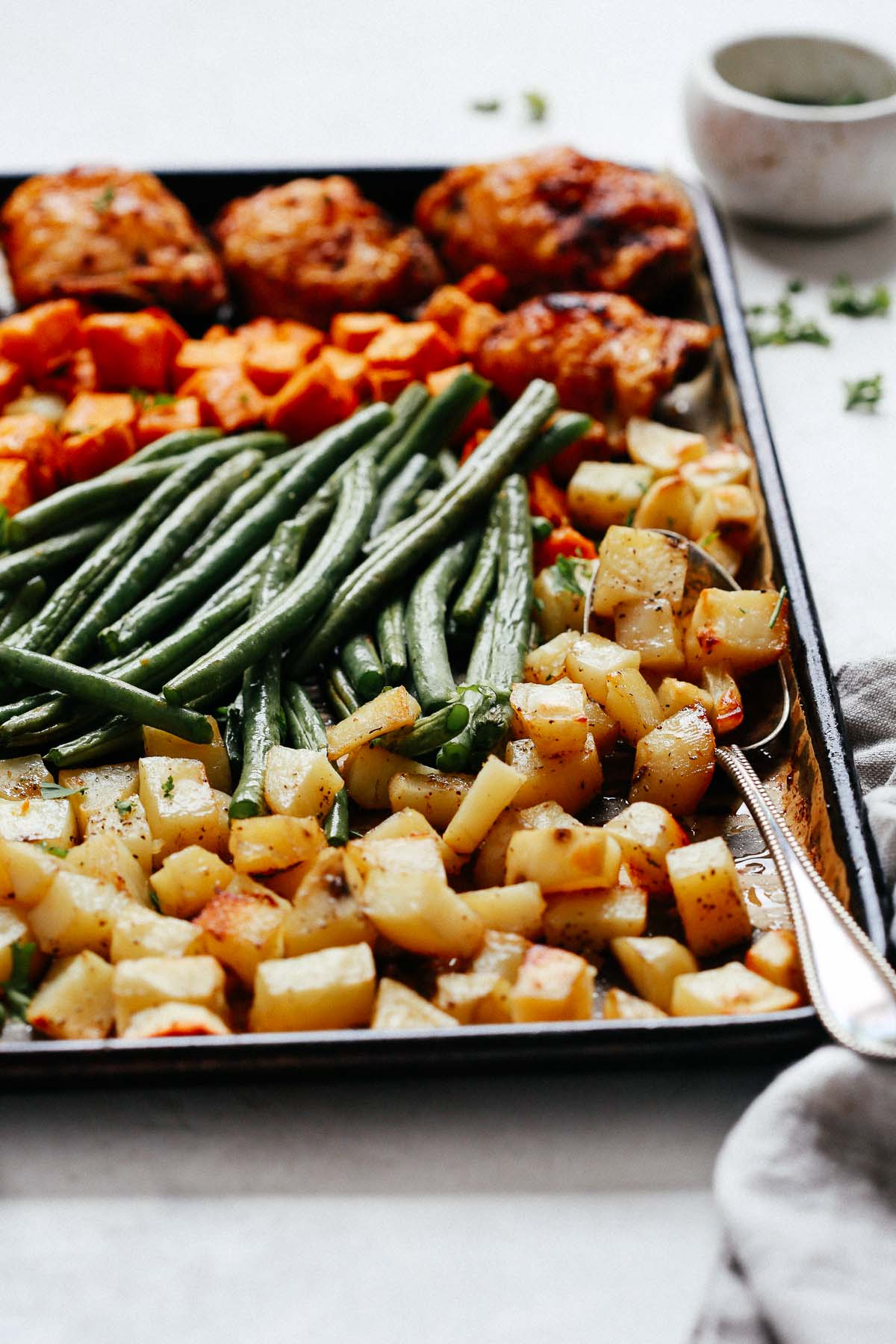 close up of Sheet Pan Chicken with Vegetables