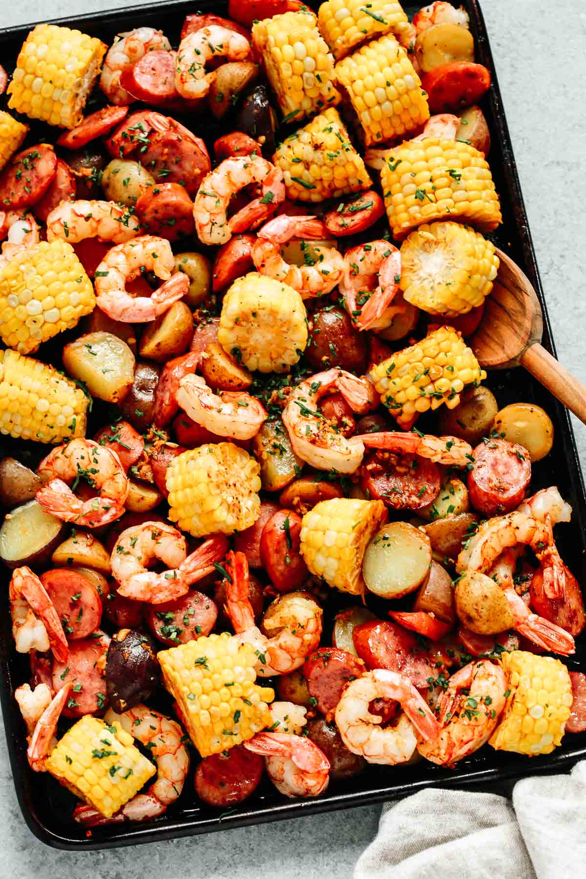 close up of shrimp boil sheet pan dinner
