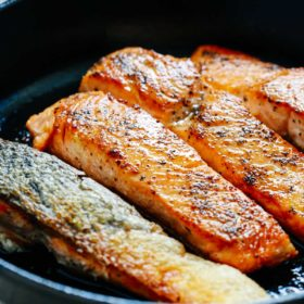 4 pan seared salmon fillets in cast iron skillet