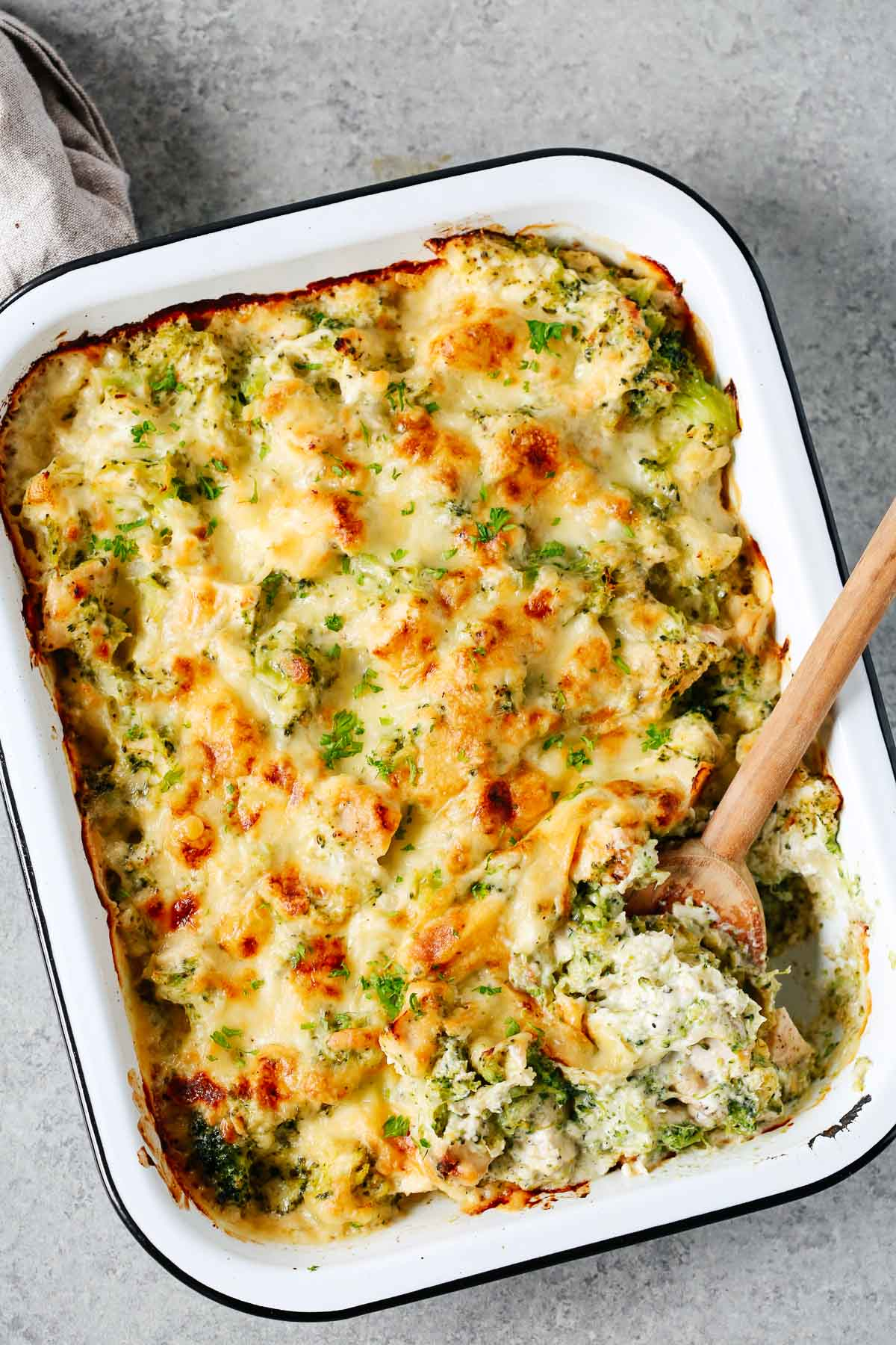 baked dish with broccoli and cauliflower with melted cheese on top