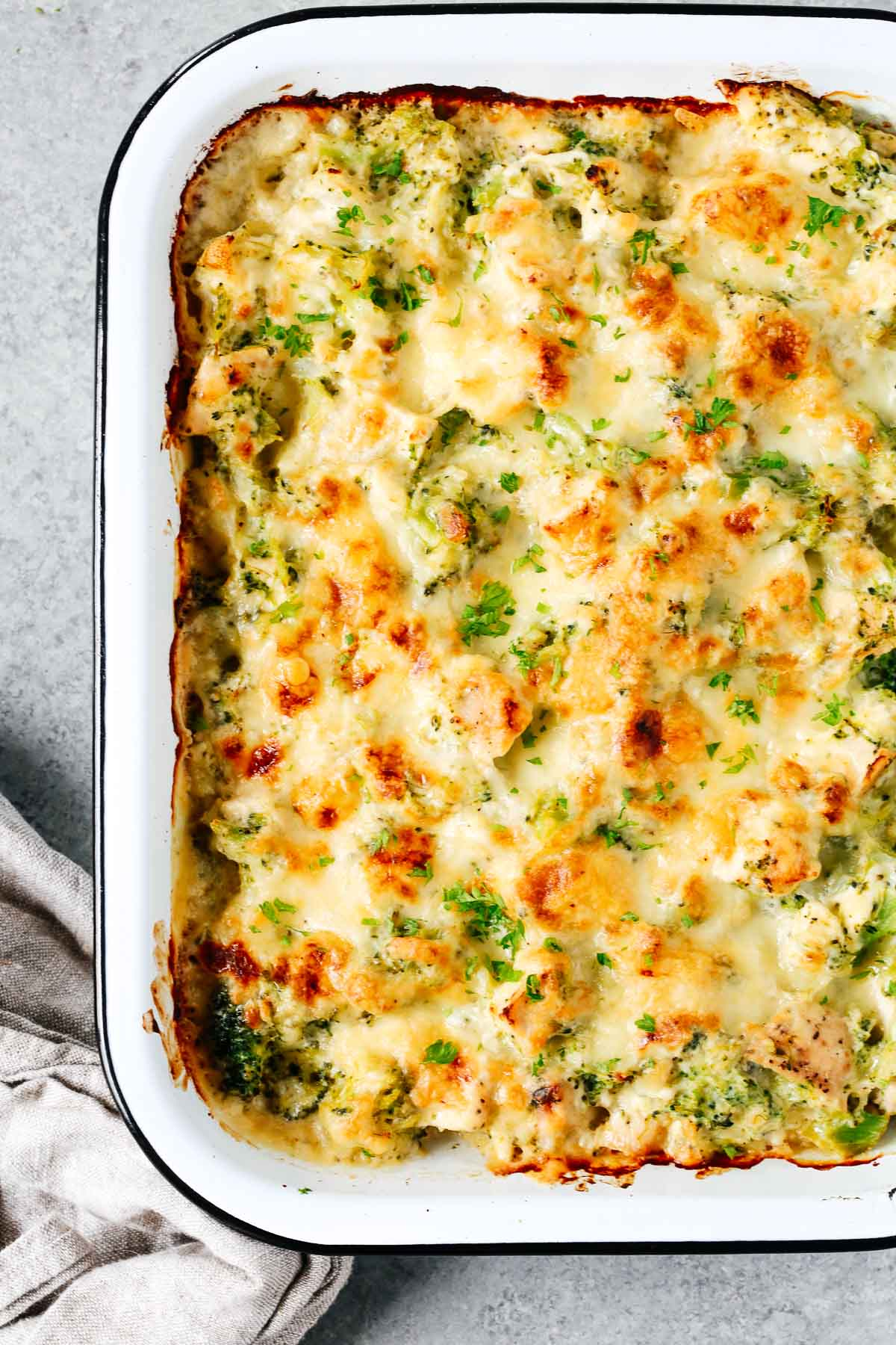close up of a broccoli and cauliflower casserole