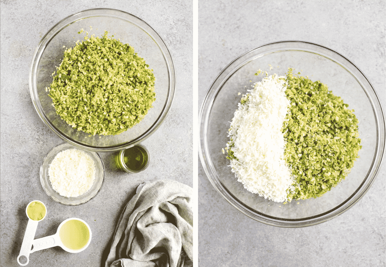 instructional step by step photos: flat lay of the ingredients and then combining them in a bowl.