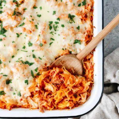 Overhead photo of a baking dish of spaghetti squash casserole