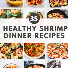 "Round up image with text ""35 Healthy Shrimp Dinner Recipes"""