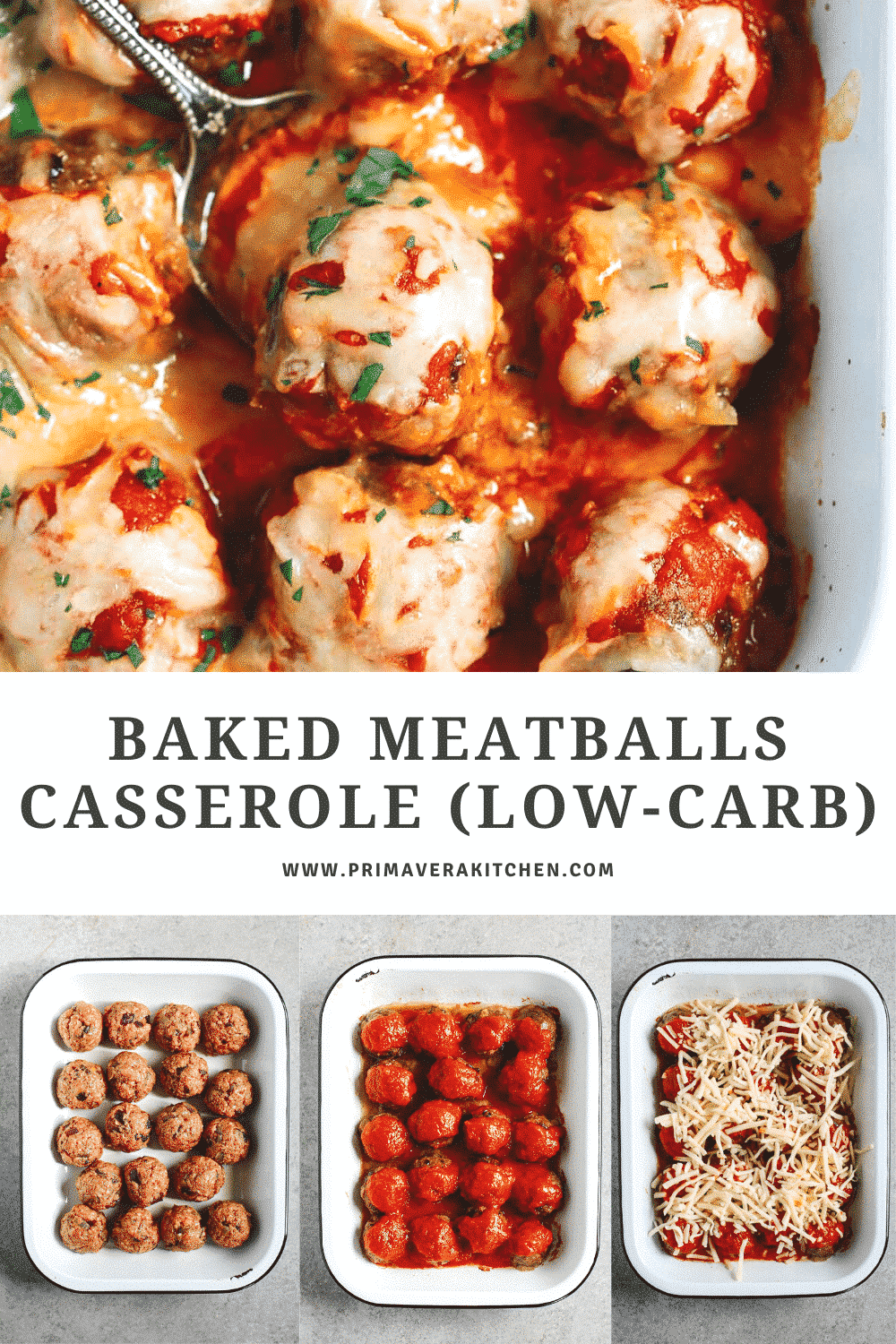 titled photo collage (and shown):baked meatballs casserole